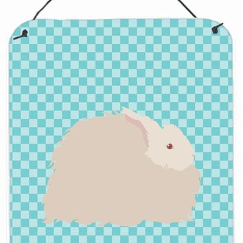 Fluffy Angora Rabbit Blue Check Wall or Door Hanging Prints BB8133DS1216