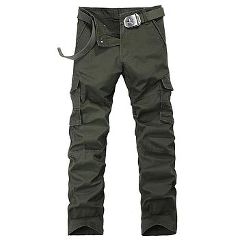 Autumn Casual Cotton Multi Pockets Washed Cargo Trousers Men