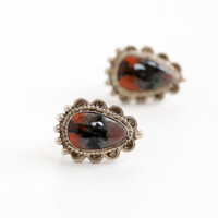 Vintage Sterling Silver Colorful Stone Screw Back Earrings - Late Art Deco 1940s Black, Red, and Gray Native American Jewelry