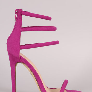 Liliana Suede Triple Ankle Strap Single Sole Heel