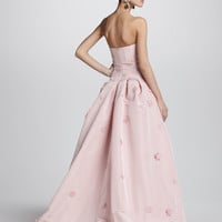 Strapless Floral-Applique Ball Gown