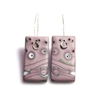 Minimalist Mauve Earrings, Urban Fashion, Dusty Pink Polymer Clay And Sterling Silver
