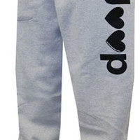 """All Things Jeep - """"J♥♥p"""" Open-bottom Gray Sweatpants"""