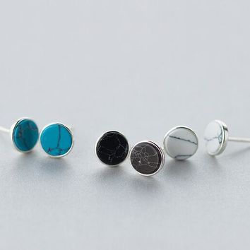 Cute Real. 925-Sterling-Silver  White /Blue /Black Turquoise Round Stud Earrings Jewelry 8mm GTLE1056