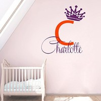 Wall Decals Vinyl Decal Sticker Custom Monogram Personalized Name Girl Initial Tinkerbell Fairy Princess Crown Mural Home Interior Design Kids Nursery Baby Room Decor