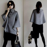 Euro-American Style Irregular Cape Women Coat Woolen Cloth unique
