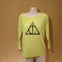 Deathly Hallows Original Sketch for All Harry Potter fans printed on Premium Raglan Neon Yellow Scoop Neck Terry Cloth Sweater Material
