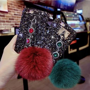 KMAX 3D Bling Rhinestone Glitter Powder Cover For iPhoneX 6 6S Plus 7 7 Plus 8 Plus Two Chain Fox Fur Ball Hard Phone Cases