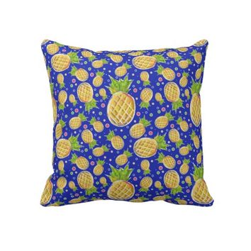 Pastel Yellow Blue Pineapple Pattern Throw Pillows from Zazzle.com