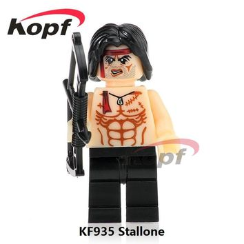 Single Sale Super Heroes Stallone First Blood Famous Movie Star John Rambo Elvis Aron Presley Building Blocks Kids Toys KF935