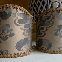 Pair of  Wall Sconce Clip-On Shield Shades Fortuny Fabric Corone in Grey & Silvery Gold Mini Lampshade - Handmade in Italy