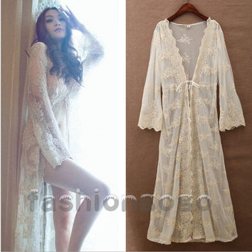 Women Bridal Vintage Princess Long Sexy Lace Robe Dress Bathrobes Sleepwear Nightdress Lingerie Romantic Nightgowns Cardigan