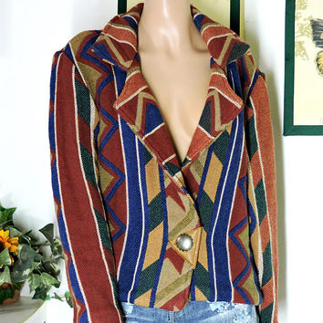 Vintage 80s southwestern jacket / size M / boho tribal woven cotton jacket / Santa Fe heavy cotton 1980s Indian blazer / jacket