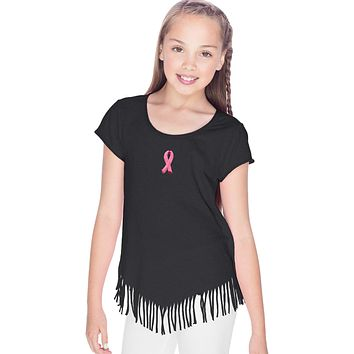 Buy Cool Shirts Girls Breast Cancer T-shirt Embroidered Pink Ribbon Fringe Tee