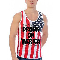 Men's Tank Top USA Flag Drunk On Merica Flag Top 4th Of July Shirt Gift