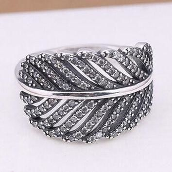 Authentic 925 Sterling Silver Light As A Feather Ring Engagement Rings DIY Jewelry for