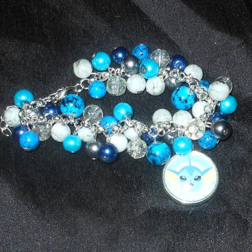 Pokemon Vaporeon Bracelet, Water Type, Glass Beads and Silver Plated Chain / Findings. Handmade