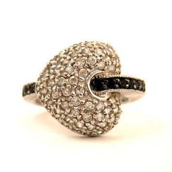 Sterling Heart Ring with White Pave and Black Channel Set Rhinestones