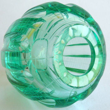 Moser ZBS Emerald cut Crystal Vase, Czech vintage engraved green