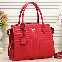 PRADA Women Fashion Leather Satchel Tote Handbag Crossbody