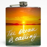 The Ocean Is Calling - Beach Flask
