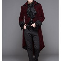 Wine Red Gothic Palace Style Long Coat for Men - Devilnight.co.uk