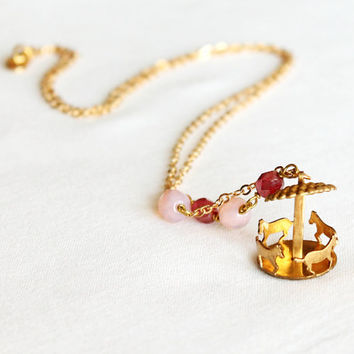 Vintage carrousel necklace, 'Merry-go-round', antique pink and fuchsia, retro style