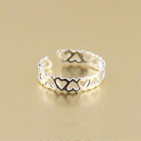 Fashion Hollow Heart-Shaped Tail Ring Sterling Silver Rings