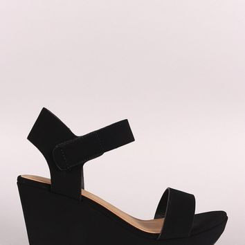 Bamboo Open Toe Low Platform Wedge