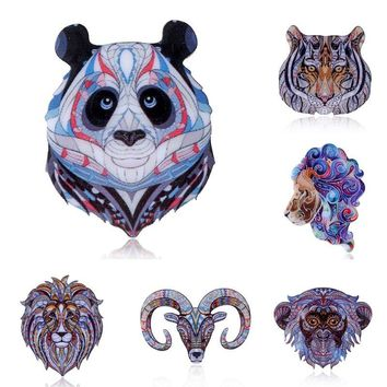 Fashion cute Monkey Enamel lion Tiger Panda Buffalo Brooches Women Kids Animal Brooch Jewelry Hijab Pins Party Gifts Accessories