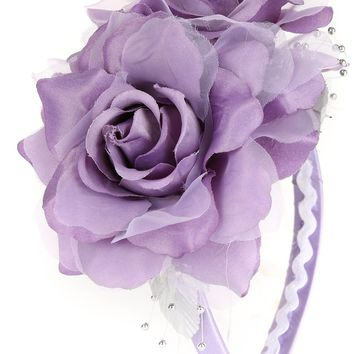 Girls Lilac Organza & Satin Double Flower Headband