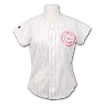 Chicago Cubs Majestic Women's Pink Pinstripe Home Replica Jersey
