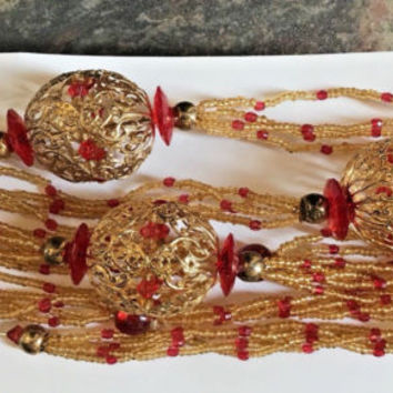 GOLD & RED Beaded Filigree Garland 2 Strands Christmas in JULY !