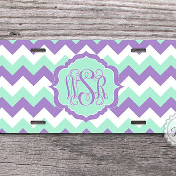 Cute License plate - Mint and Lavender chevron Monogrammed front car tag - 125