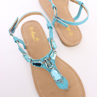 Blue Faceted Beaded Top Accent Side Buckle Thong Sandals Faux Leather