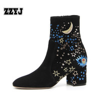 ZZYJ Large sheepskin ankle boots fashion printed stars moon knight boots women thick heel shoes Female shoes botas bootie