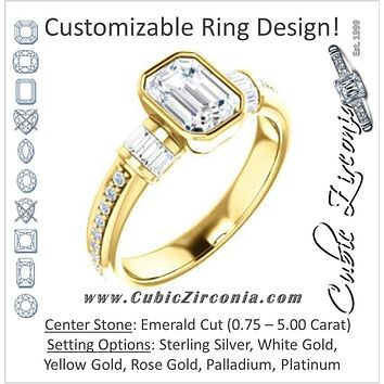 Cubic Zirconia Engagement Ring- The Danna (Customizable Cathedral-Bezel Emerald Cut Style with Horizontal Baguettes & Pavé Band)