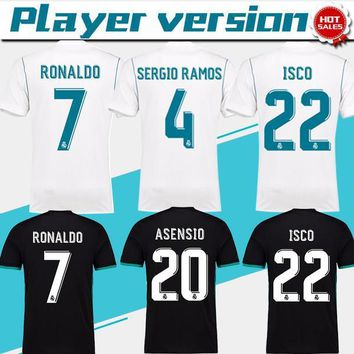 New Player version Real Madrid Home white Soccer Jersey 17/18 Ronaldo Real Madrid away