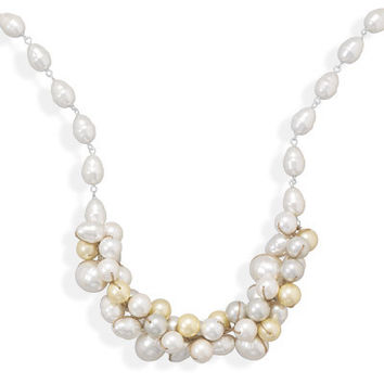 "Multicolor Shell Base Pearl Necklace 16""+2"""