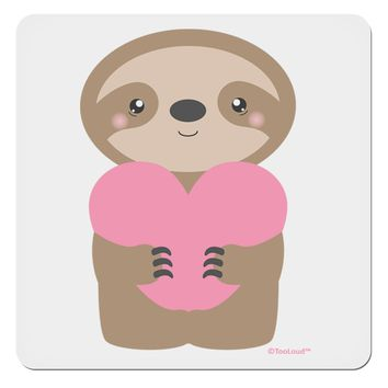 "Cute Valentine Sloth Holding Heart 4x4"" Square Sticker by TooLoud"