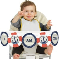 Ahoy Nautical High Chair Banner - First Birthday Party Decorations
