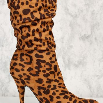 Leopard Print Pointy Toe Slouchy Mid Calf Booties Faux Suede