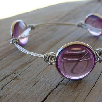 Clear Pink Bauble Bead Wire Wrapped Stacking Stackable Bangle Bracelet