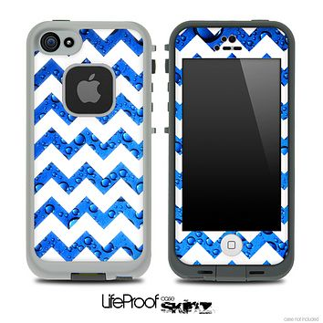Blue Rain & White Chevron Pattern Skin for the iPhone 5 or 4/4s LifeProof Case