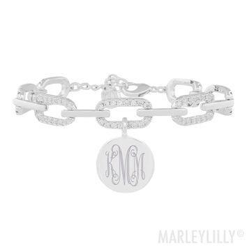 Monogrammed Pave Chain Link Bracelet | Marleylilly