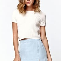 LA Hearts Ribbed Fitted Short Sleeve Cropped Sweater - Womens Sweater