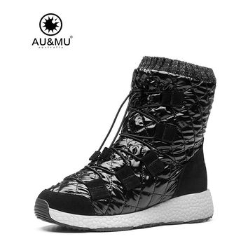 2017 AUMU Australia Women Sheepskin Patent Leather Elastic Lace Short  Winter Snow Boots UG NY503