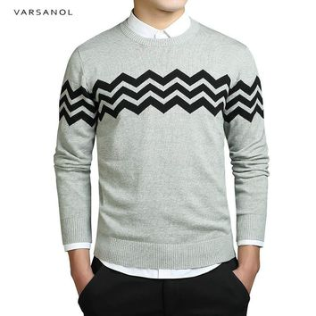Men Pullover Sweaters Simple Style Cotton O Neck Striped Sweater Autumn Thin Male Long Sleeve Sweater