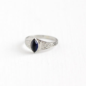 Vintage Simulated Sapphire 10K White Gold Ring - 1920s Size 1/2 Art Deco Dark Blue Marquise Glass Stone Midi Children's Baby Fine Jewelry