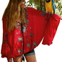Women blouses tops boho Cotton long sleeve embroidery floral V-neck tassel loose fit hippie chic blusas brand clothing